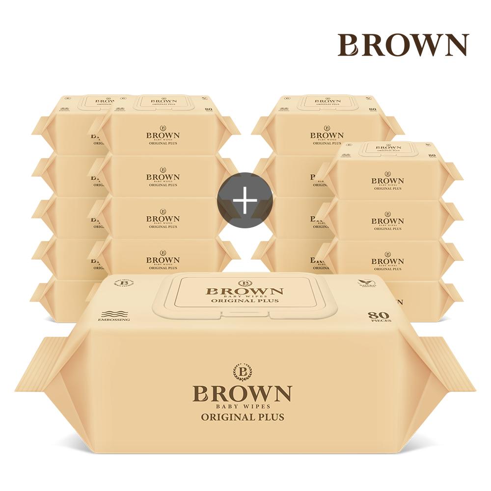 브라운 오리지널 플러스 아기물티슈 80매 캡형 10+10팩