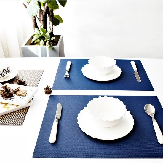 [모리스벤암펠] 스키니/사각 테이블 식탁 매트 네이비
